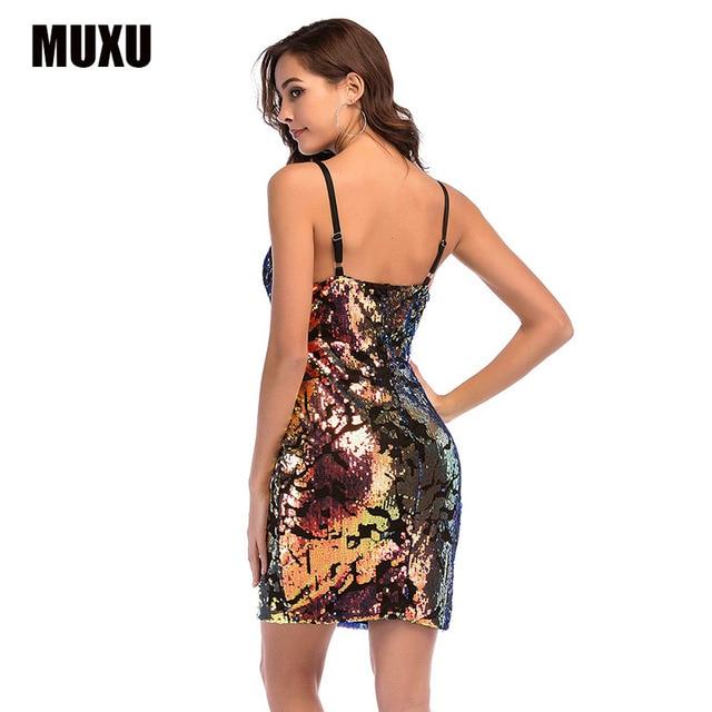 MUXU fashion rainbow sequin dress clothes women glitter suspender ropa  mujer women clothing sukienka backless club party dresses e1e9e565719d