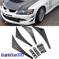 4pcs/set Universal Car Canards Front Bumper Lip Splitter Diffuser Fins Body Valence Chin Wing Widebody Tunning Canard Spoiler