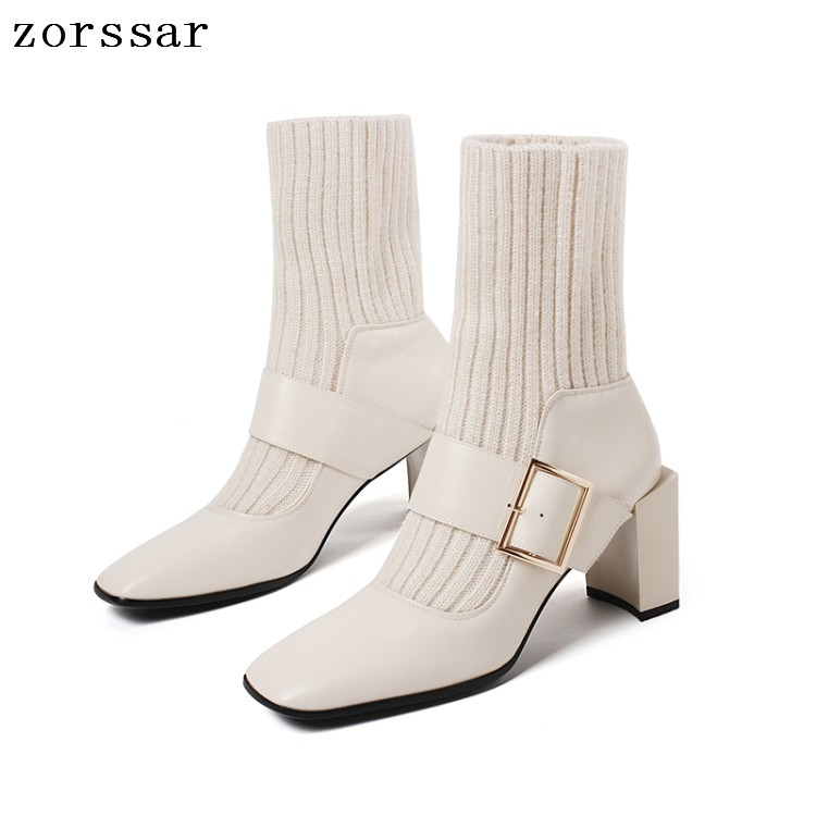 {Zorssar} Square Toe Heels Women Mid-Calf Boots Genuine Leather High Heel sock Boots Autumn Winter Female booties plus size 43