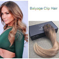Full Shine Ombre Balayage Color #2#6#27 Virgin Remy Hair Clip in Human Hair Extensions Straight Brazilian Clip in Extensions