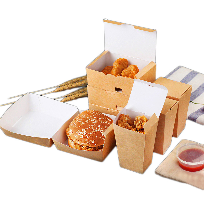 Kraft Paper Disposable Hamburger Box Waterproof And Anti-Oil Fast Food Box Packing Tools French Fries Fried Food Tray 50pcs/pack