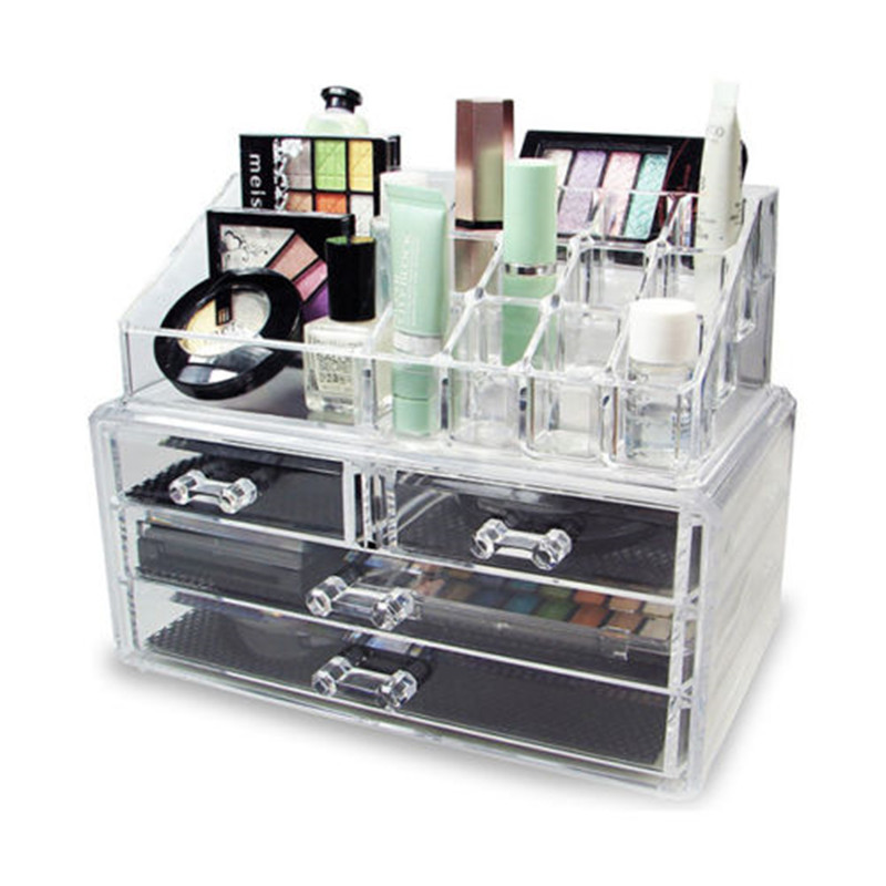 Newly 4 Drawer Clear Acrylic Cosmetic Organizer  Makeup Storage Box Jewelry Storage Holder Box