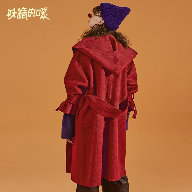 Large Lâche Capuchon Nouveau Elf Laine D'hiver Femme Manteau Vestes Taille Marron Sac Vêtements rouge Mélanges Pour 83 Solide De À wggqFCvWz
