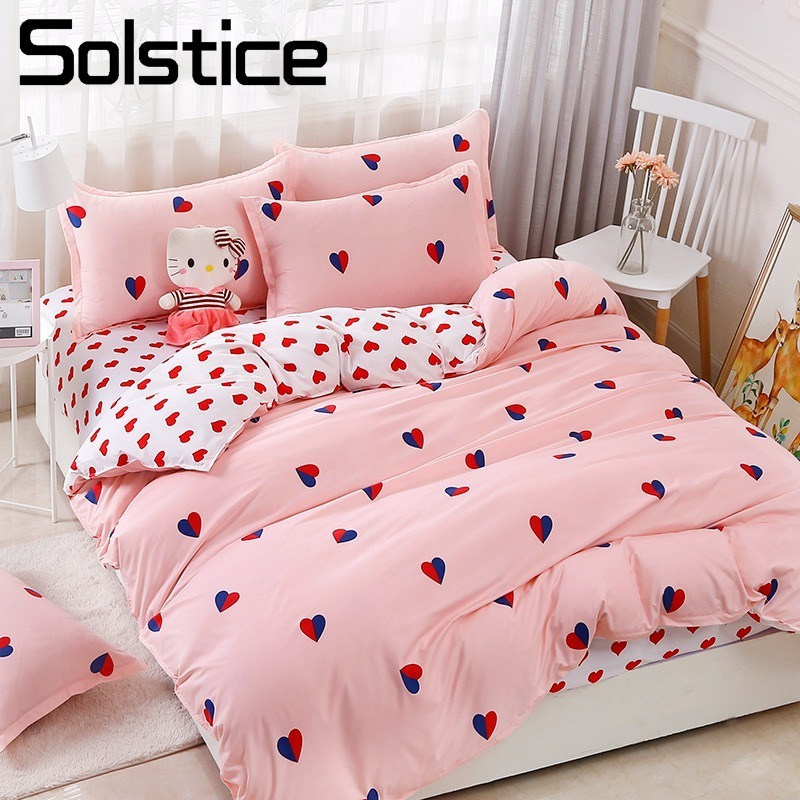 Solstice Home Textile Twin Queen King Bedding Set Pink Heart Love Girl Teen Adult Woman Bed Linens Duvet Cover Sheet Pillow Case
