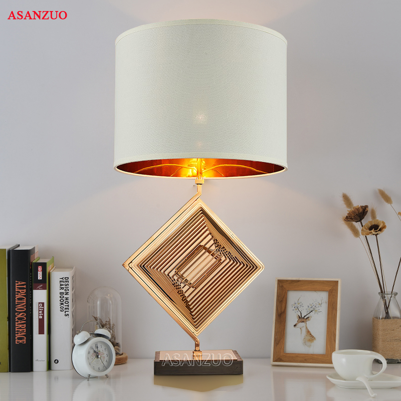 New modern minimalist table lamp Nordic American fashion designer  creative living room bedroom cloth & iron table lampNew modern minimalist table lamp Nordic American fashion designer  creative living room bedroom cloth & iron table lamp