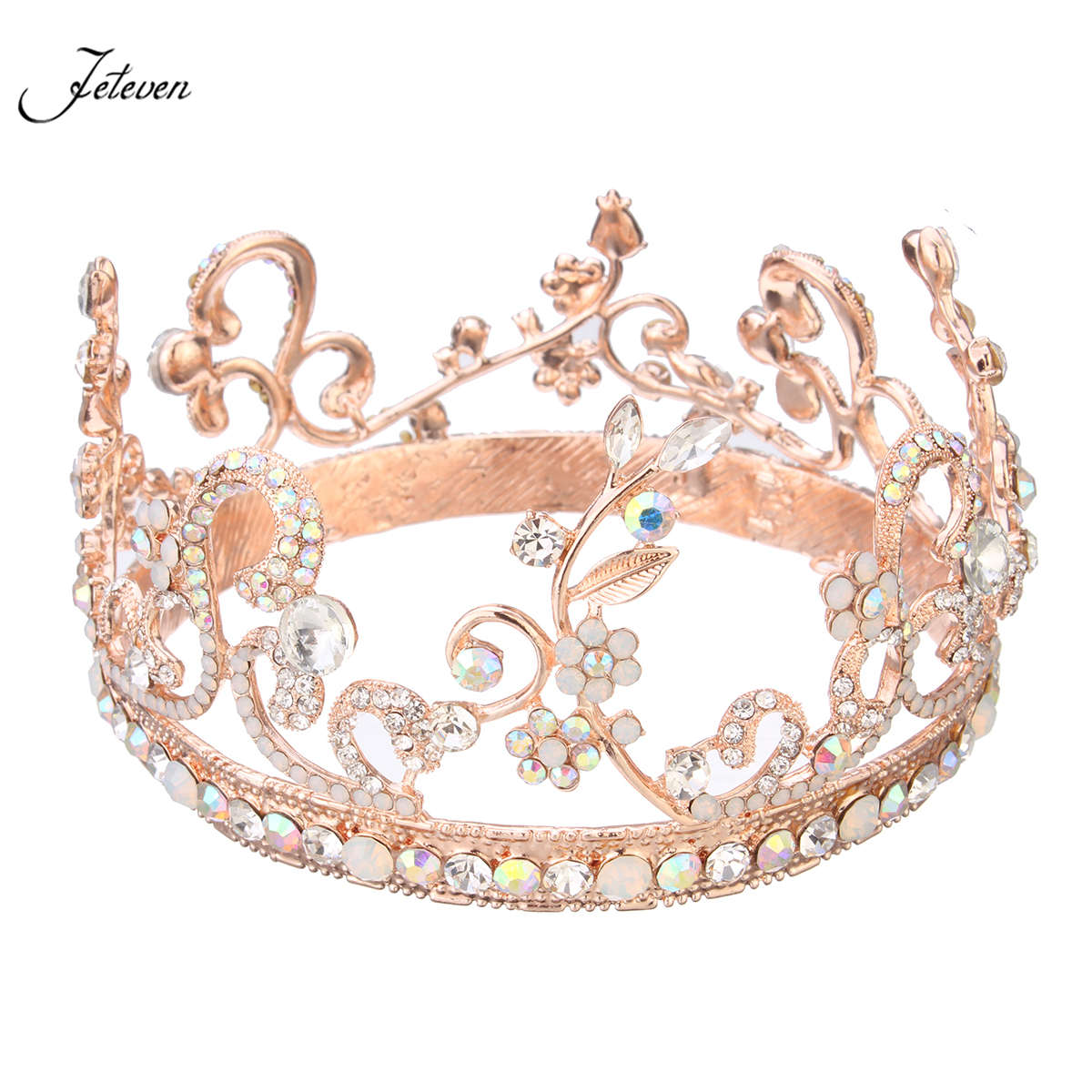 Rose gold wedding hair accessories - Rose Gold Flower Leaf Wedding Bridal Crown Crystal Rhinestone Opal Pageant Baroque Tiara Party Prom Hair Accessories