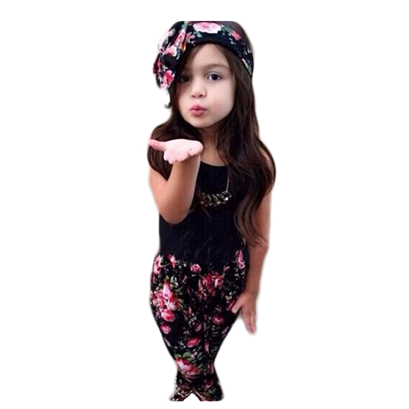 Summer Style Girls Fashion Floral Casual Suit Children