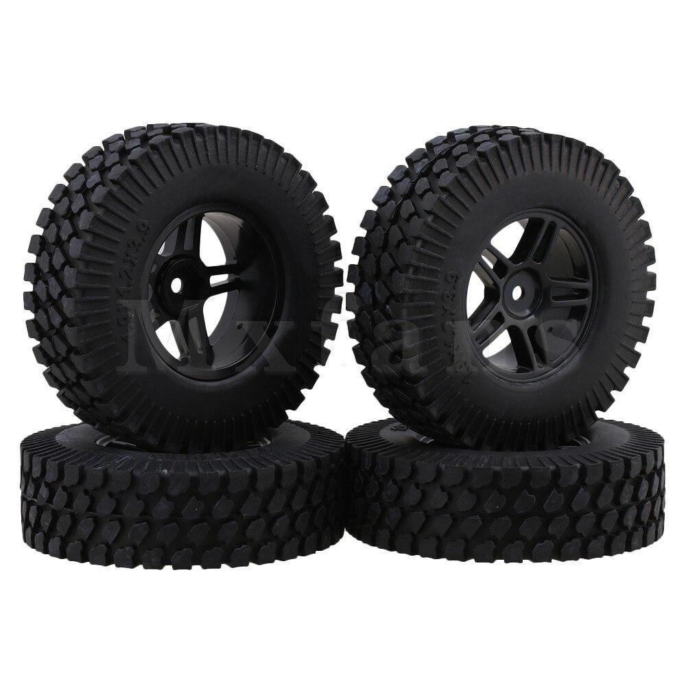 Mxfans 10 cm Dia RC 1:10 Ghiaia Modello Rubber Tire & plastica Forma Pentagramma Wheel Rim per Rock Crawler confezione da 4