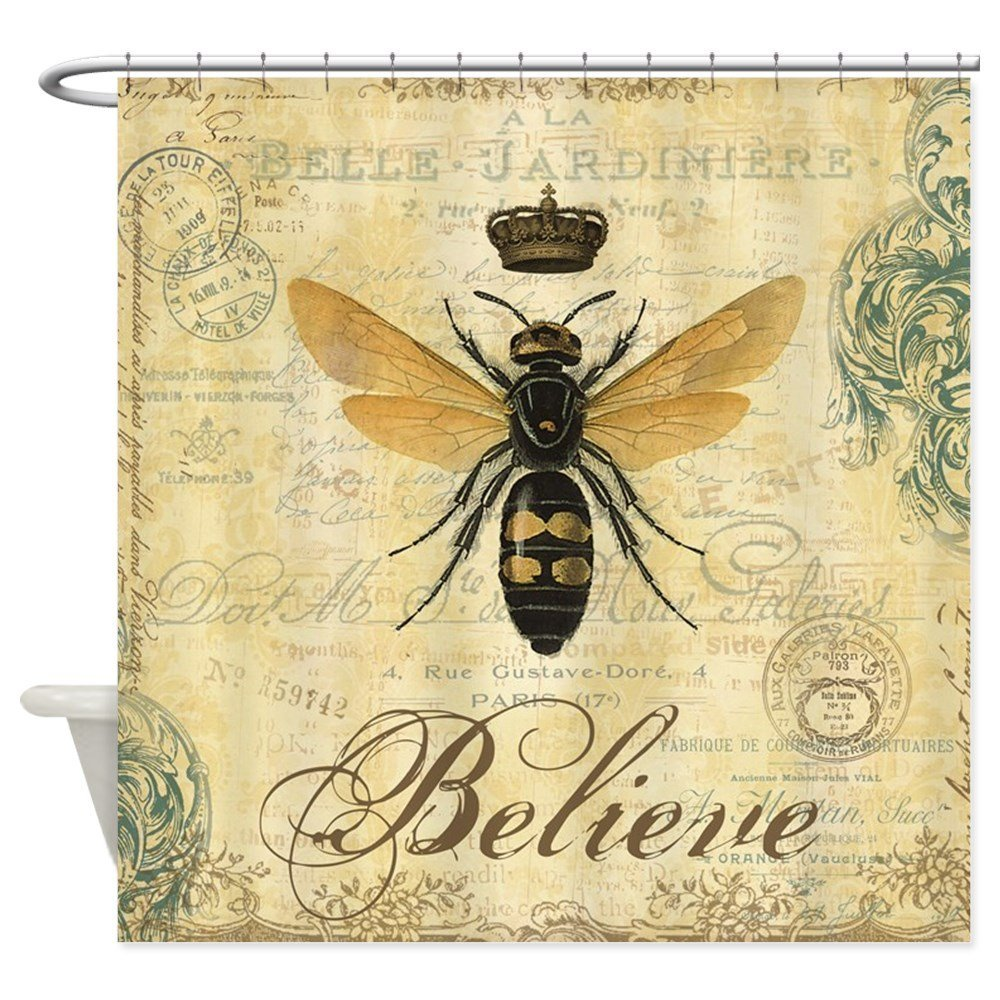 Modern Vintage French Queen Bee Decorative Fabric Shower Curtain Bath Products Bathroom Decor With Hooks Waterproof