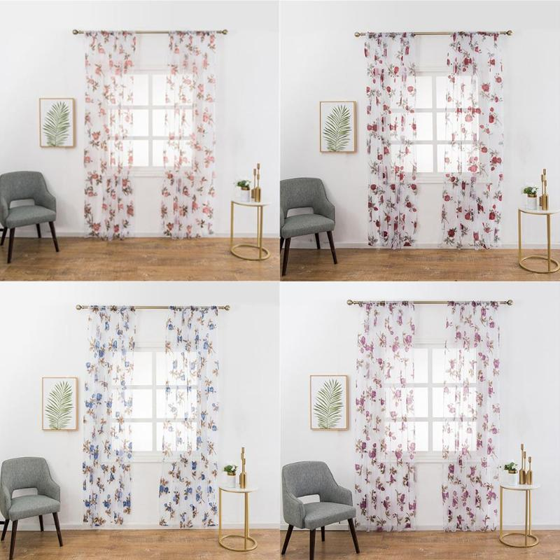Huayin Velvet Linen Curtains Tulle Window Curtain For: Washable Flowers Sheer Voile Tulle Floral Curtains Living