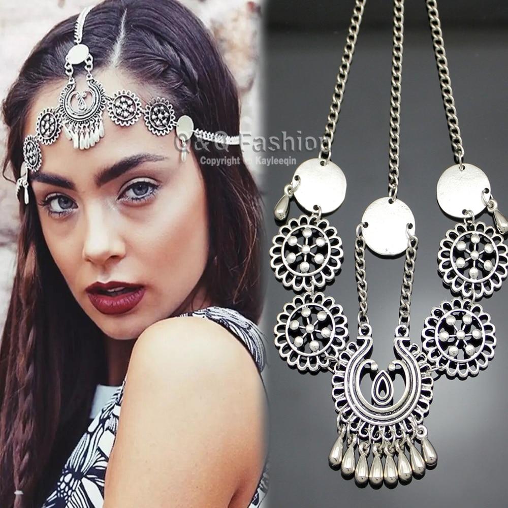 Goddess Festival Grecian Silver Gypsy Chain Tikka Hair Crown Coin Head Dress Band Bridal Jewelry