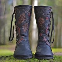 Shoes Women Black Mid calf Shoes New Casual Comfortable Shoes Fashion Eur Style Shoes DA250