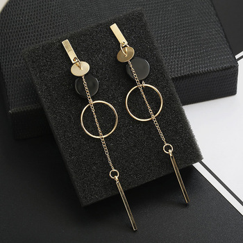 Korean Fashion Long Slope Geometric asymmetry Rhinestone circle earrings