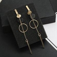 Long Slope Geometric Rhinestone circle earrings SF