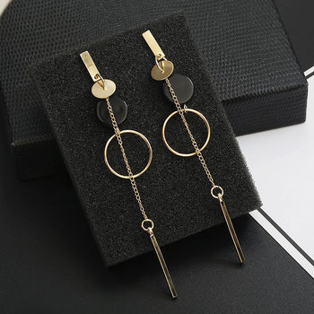 Korean Fashion Long Slope Geometric asymmetry Rhinestone circle earrings new Acrylic earring for women Gift Party Wedding