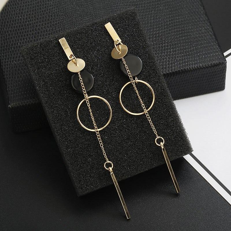 Mode coréenne longue pente géométrique asymétrie strass cercle boucles d'oreilles nouvelle acrylique boucle d'oreille pour les femmes cadeau fête mariage