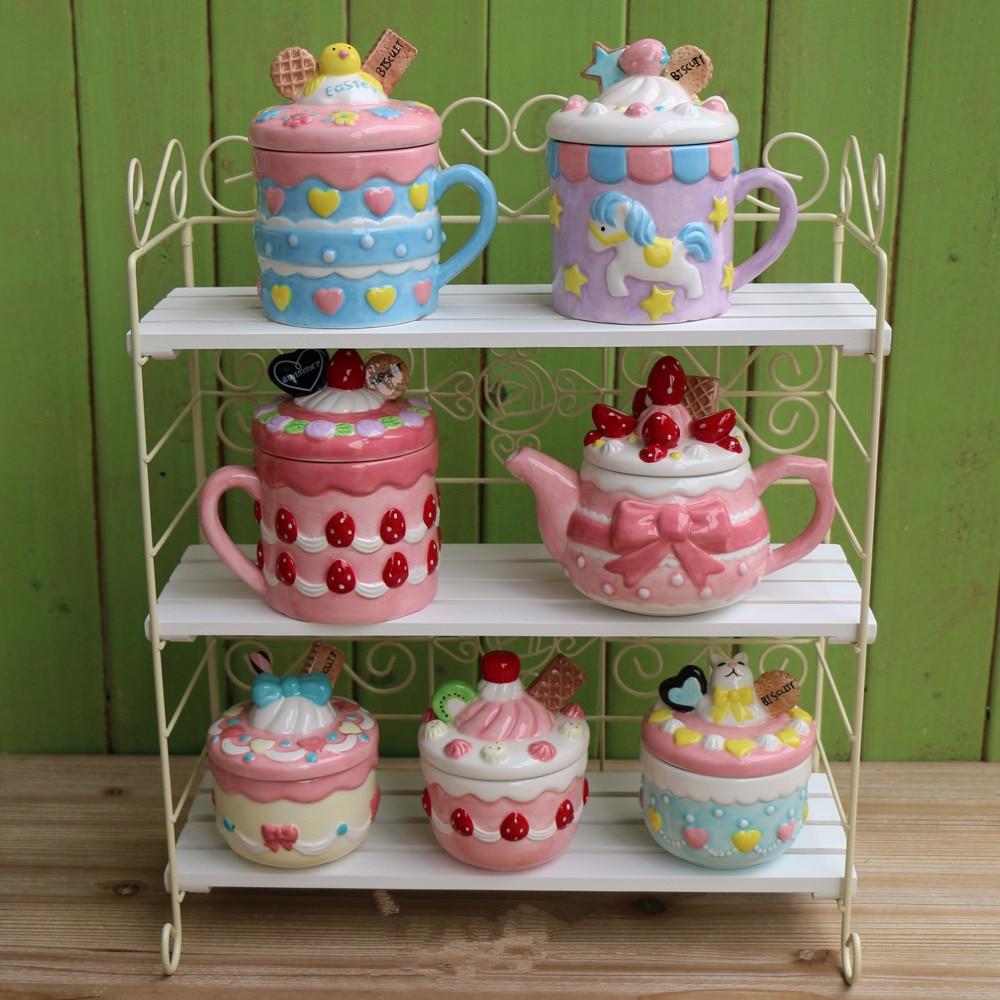 Creative Strawberry Cookies Ceramic Mug Cute Candy Salt Jar Chinese Wedding Tea Set Christmas Gift Home Decoration Accessories