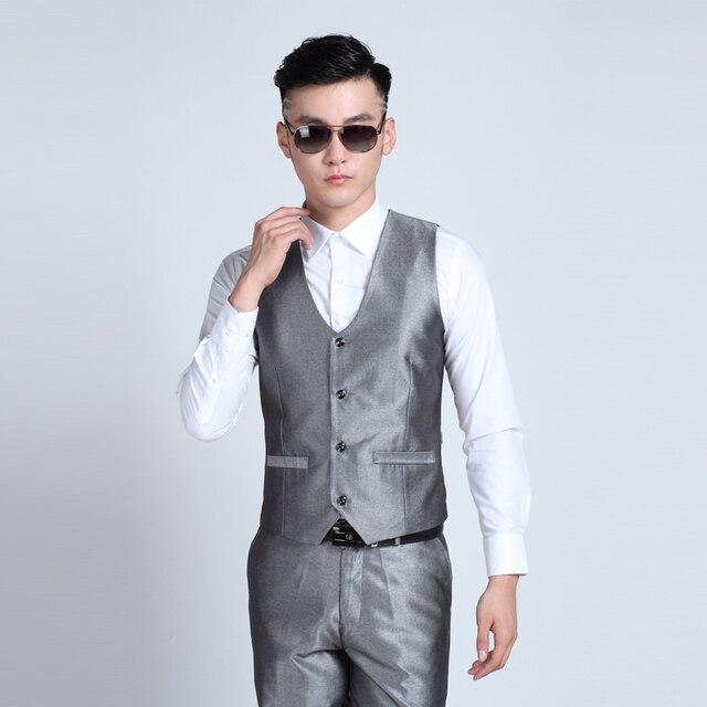 10 Color Available New men's suit vest Korean men V-neck vest Leisure vest Slim  New Fashion Leisure Men Vests suits slim