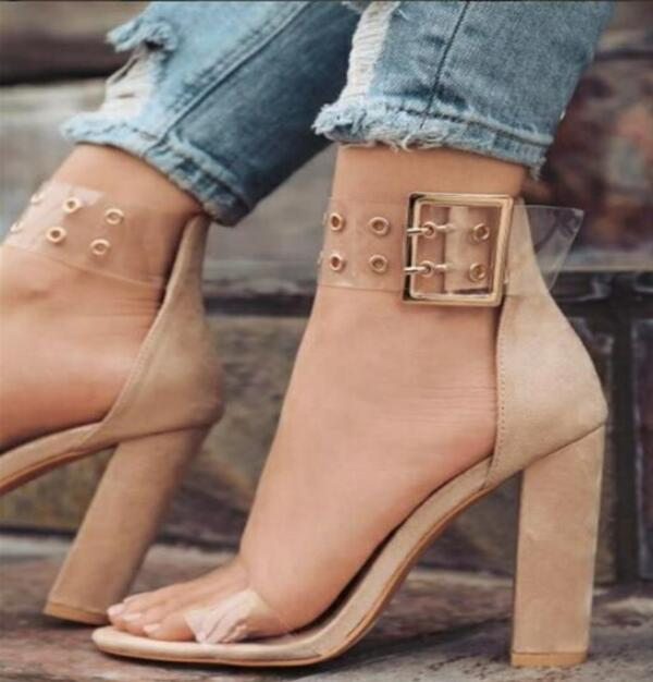 769bd583e35 Heels Zapatos Chunky Nice Shoes Ankle Woman Women High Pumps Wedding Summer Ladies  Strap Clear Mujer ...