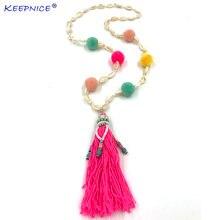 Новое разноцветное ожерелье ручной работы с кисточками и помпонами