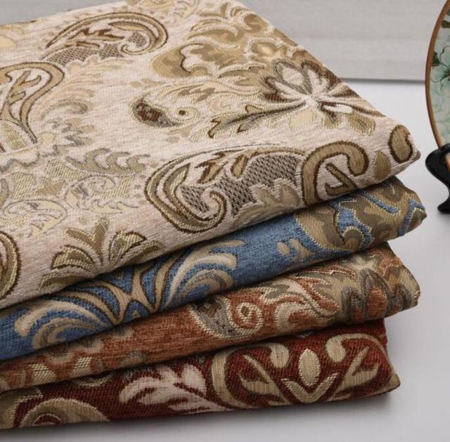 1 mtre jacquard chenille tissu dameublement fleurs pour canap rideau de tapis coussin couverture