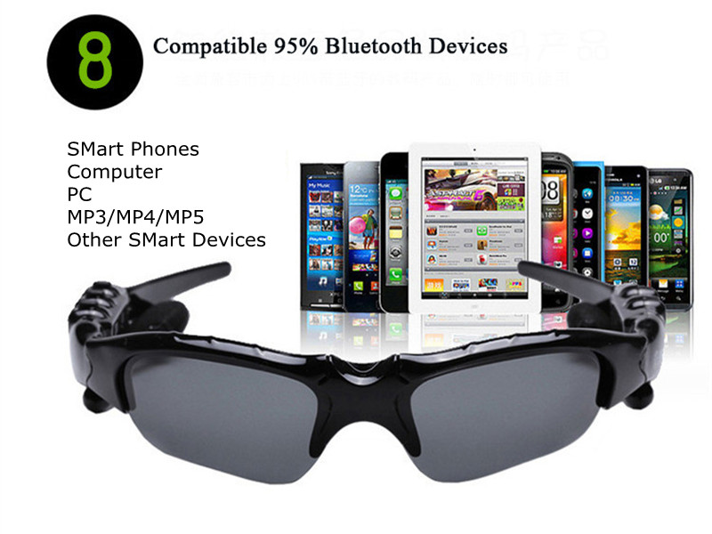 Bluetooth Sunglasses Outdoor Smart Sun Glasses Wireless Headset with Microphone for Smart Phones black normal 19