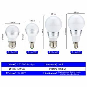 Image 2 - LED RGB Bulb 3W 5W E27 E14 16 Color Changing RGB Magic Light Bulb Lamp 85 265V 110V 220V RGB Led Spotlight with Remote Control