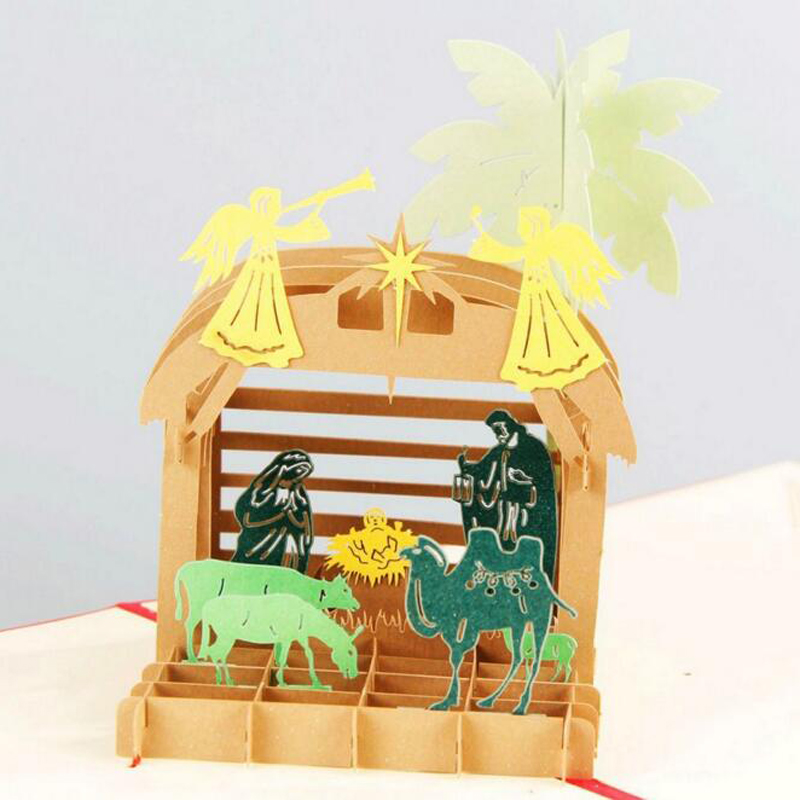 Handmade Kirigami 3D Pop up Desert Camel Greeting Card Birth of Jesus Christmas Gift Card Wholesale Free Shipping carousel horse pop up card 3d greeting card handmade kirigami card free shipping