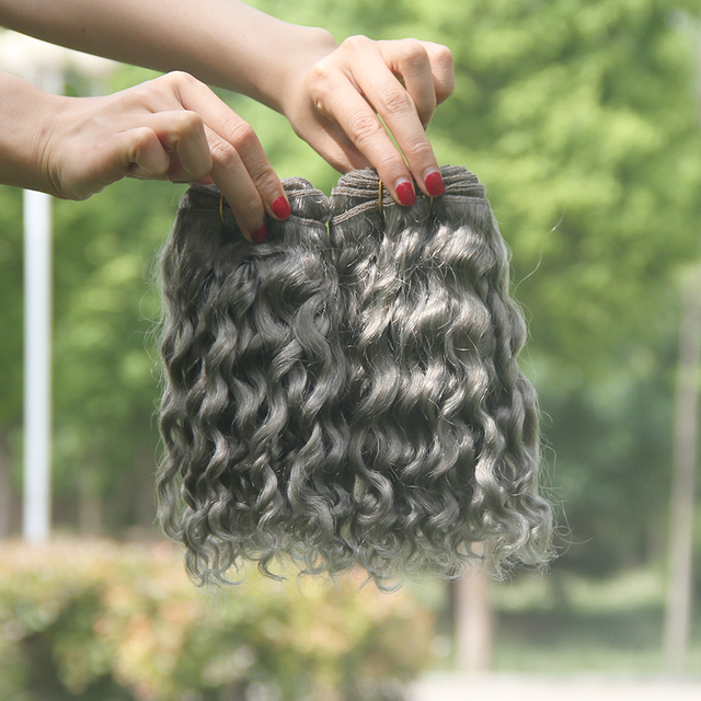 Peruvian Deep Curly Virgir Hair 7a Silver Grey Human Hair Extensions