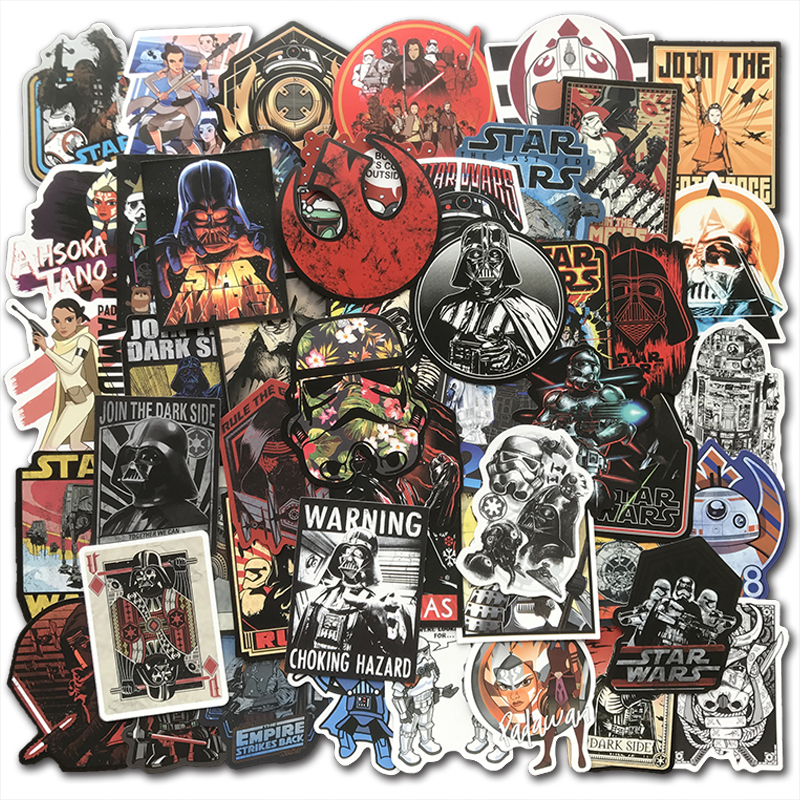 AQK 50Pcs Cool Star Wars Stickers Waterproof Kids Toy Graffiti Sticker Bomb For DIY Skateboard Luggage Laptop Guitar Fridge Car