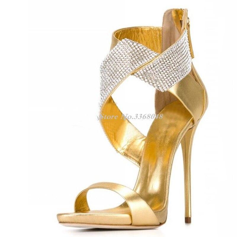 Vente chaude mode or daim cuir talons aiguilles sandales argent Bling Bling perlé cheville Wrap robe chaussures pour femme