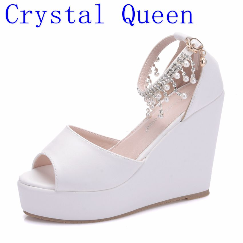 b555ab804e7c Crystal Queen Summer Women Shoes Sandals Bohemian String Beading White Pu  Casual Heeled Wedge Sandals For Woman High Heels