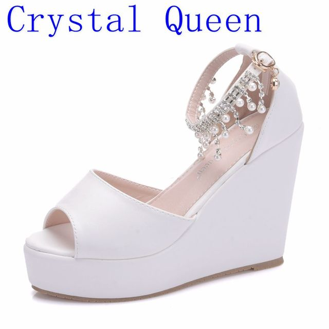 99d02e84f63 Crystal Queen Summer Women Shoes Sandals Bohemian String Beading White Pu  Casual Heeled Wedge Sandals For Woman High Heels