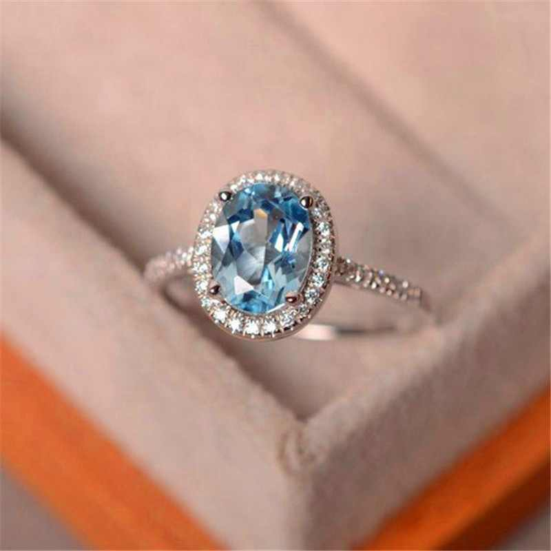 Female Crystal Zircon Stone Ring 925 Silver Purple Green Water Blue Ring Wedding Band Jewelry Promise Engagement Rings For Women