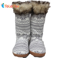 Woollen Floor Shoes Winter Artificial Fur Long Home Slippers Women House Shoes Knitting Wool Floor Slippers