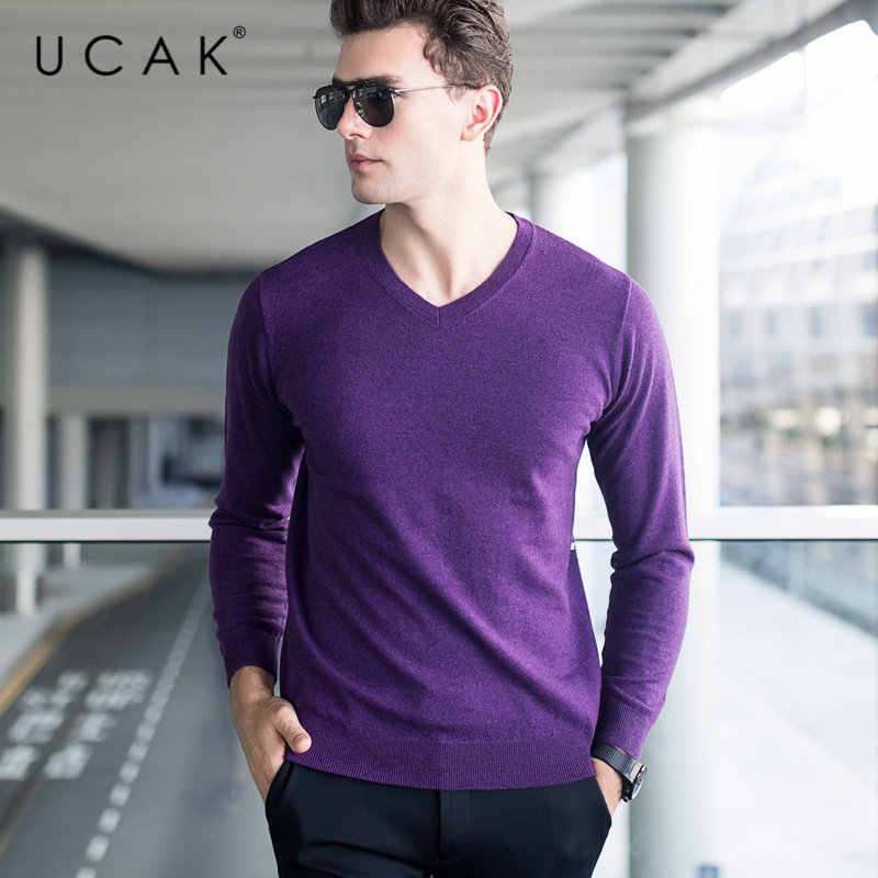 UCAK Brand Sweater Men Classic Casual V-Neck Pull Homme Pure Merino Wool Pullover Men Autumn Winter Soft Cashmere Sweaters U3005
