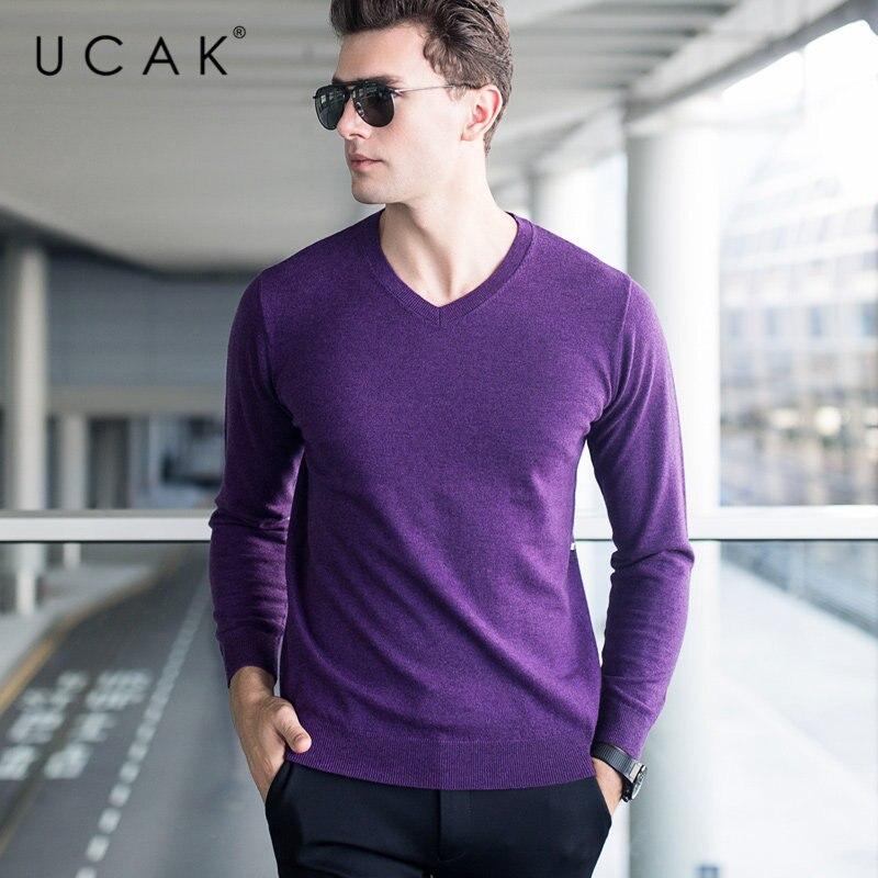 UCAK Brand Sweater Men Classic Casual V-Neck Pull Homme Pure Merino Wool Pullover Men Autumn Winter Soft Cashmere Sweaters U3005