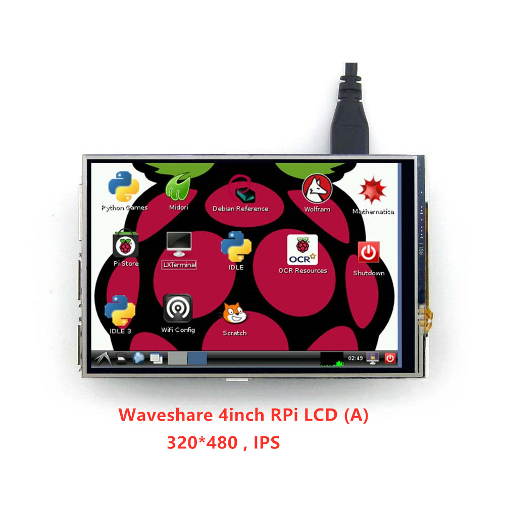 Waveshare 4inch RPi LCD (A) 320*480 TFT Resistive Touch Display Screen SPI Interface For All Rapsberry Pi