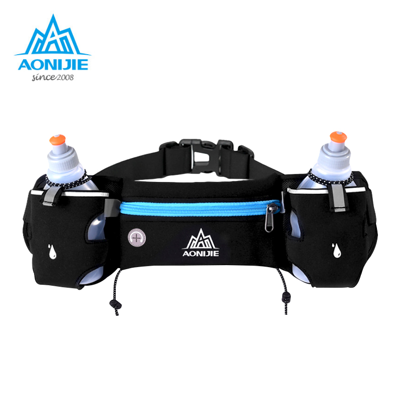 AONIJIE Sports Hydration Belt Bottle Holder Pack Adjustable Waist Belt Bags Marathon Running Reflective Racing Fitness