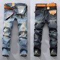 Destruído Afligido Jeans Calças Dos Homens da forma dos homens Slim Fit Rasgado Remendo Reta calças de Brim Azul Jeans