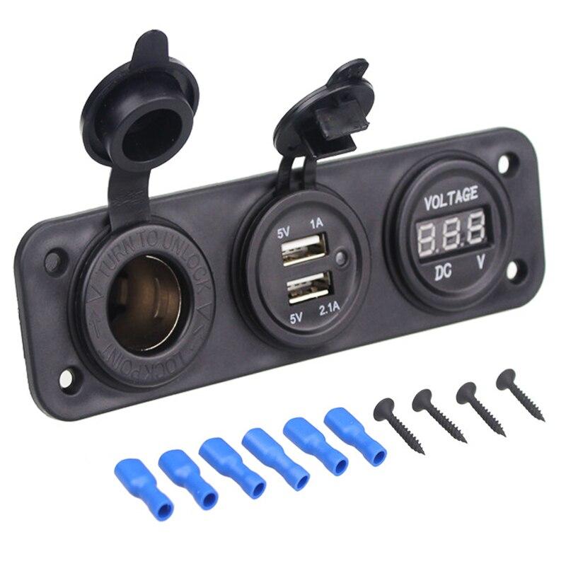 Universal Car Charger Motorcycle Plug Dual USB Adaptor+12V/24V Cigarette Lighter Socket Blue LED +Digital Voltmeter Mobile Phone