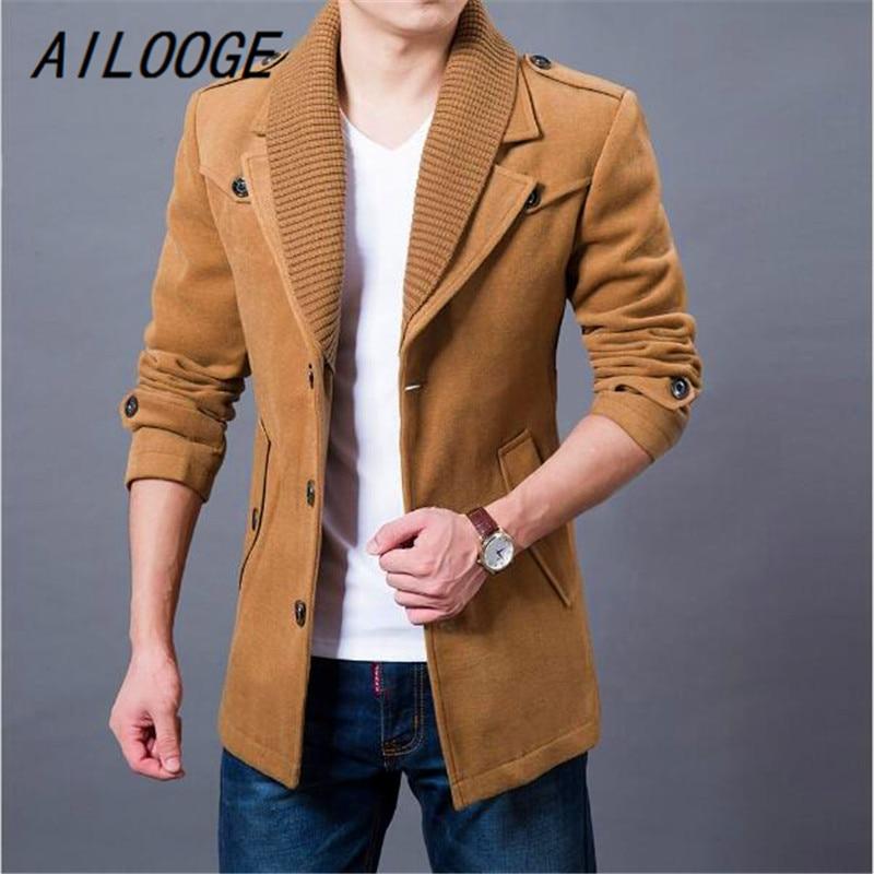 Ailooge 2017 бизнес мужские повседневные теплые пальто размер M-3XL Хорошее качество Однобортный дизайн Сгущает Человек модная шерстяная одежда