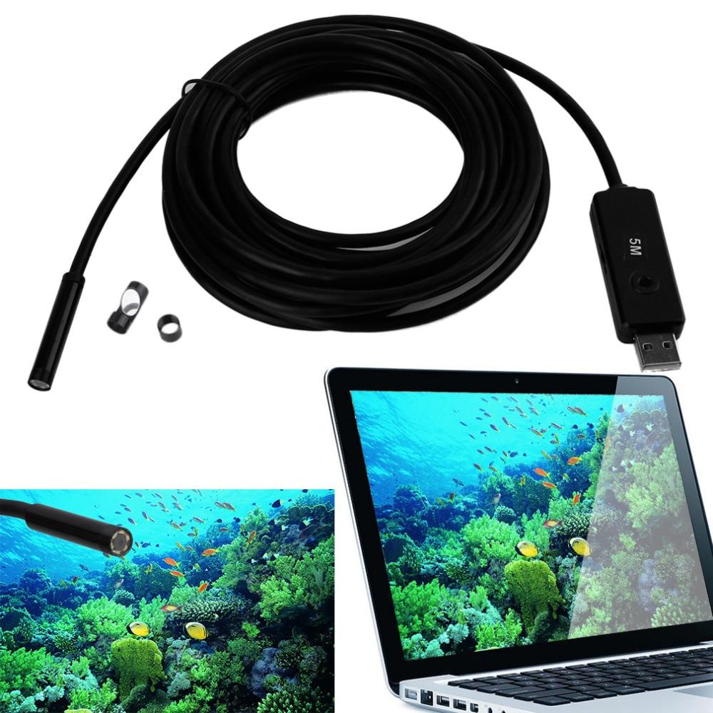 Cámara impermeable 5m Mini USB endoscopio cámara de inspección 6 LEDs blancos 1/9 CMOS 7mm lente boroscopio tubo de serpiente cámara con P2P