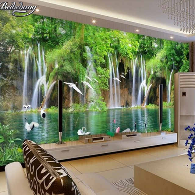 Beibehang custom wallpaper natural landscape waterfall 3d for Nature wallpaper for bedroom