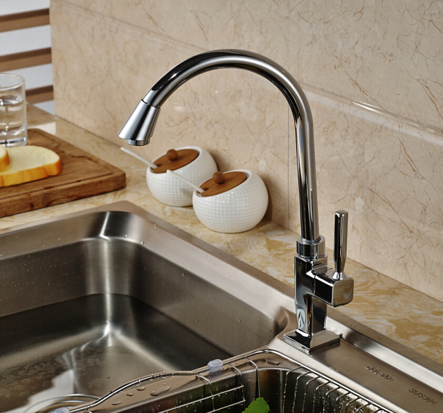 Cheapest Chrome Brass Kitchen Faucet Single Handle Hole Cold Water ...