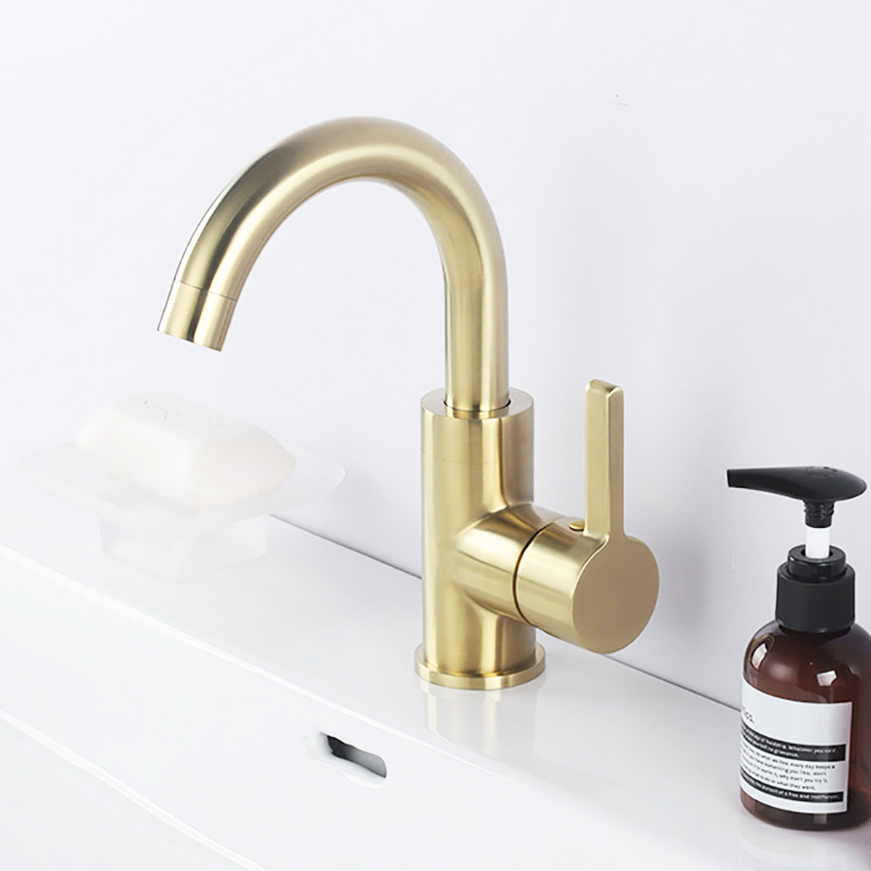 Robinet de lavabo de salle de bain en laiton doré brossé mitigeur mitigeur froid et chaud robinet de Rotation pour évier de salle de bain