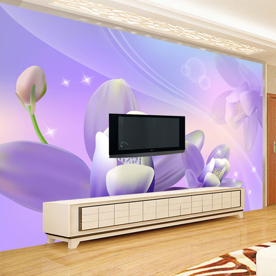 Custom Mural Wallpaper Purple Flower Pattern Wall Papers Home Decor Living Room TV Backdrop Modern Wall Painting Wallpaper Roll elegant diy purple mangnolia and letters pattern wall stickers for home decor