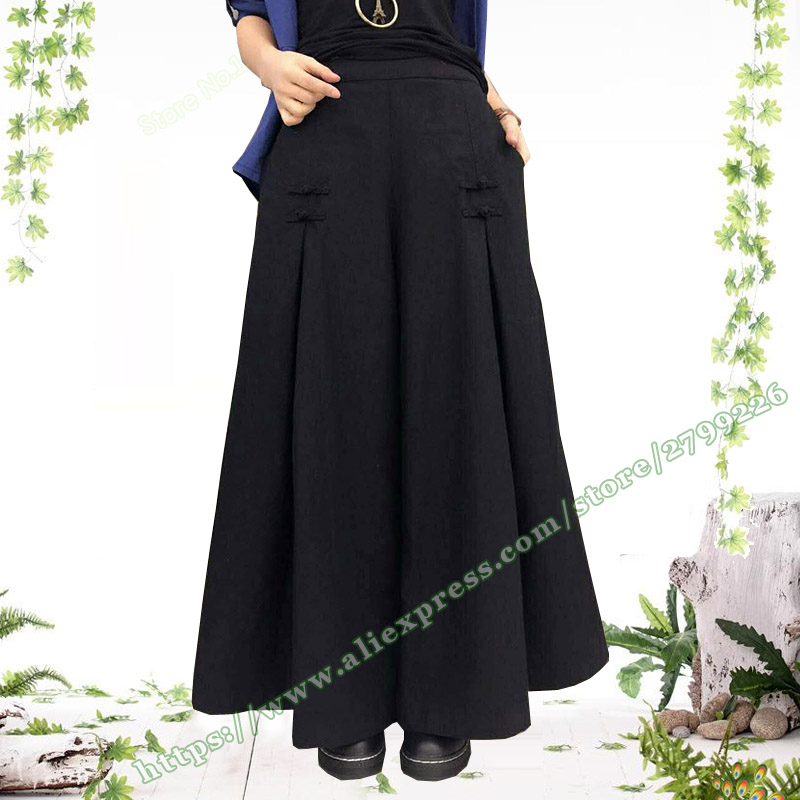 2019 Spring Summer New High Waist Cotton and Linen Pleated Female Wide Leg Pants Retro Loose