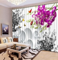 Home Bedroom Decoration Photo Custom Size 3D Curtain Circle Background Purple Gray Flowers Curtains For Bedroom 3D Curtains