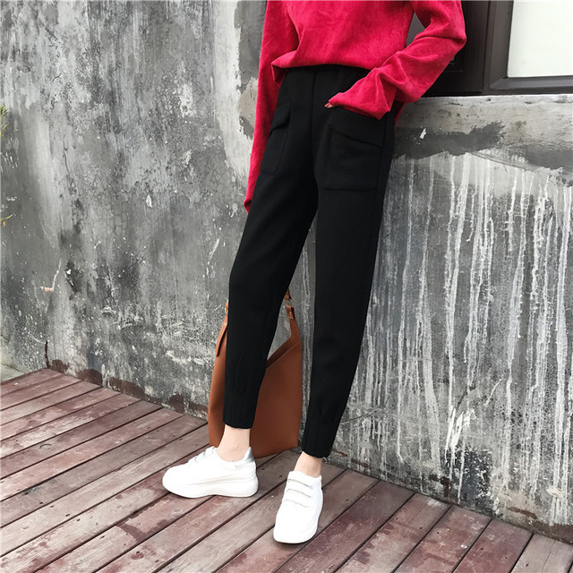 Winter Autumn Thick Warm Woolen Elastic Waist Fashion Solid Ankle Pant OL Korean Trouser Tracksuit Streetwear Hiphop Harem 2018 4